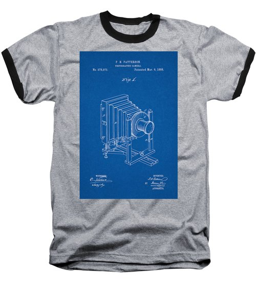1888 Camera Us Patent Invention Drawing - Blueprint Baseball T-Shirt