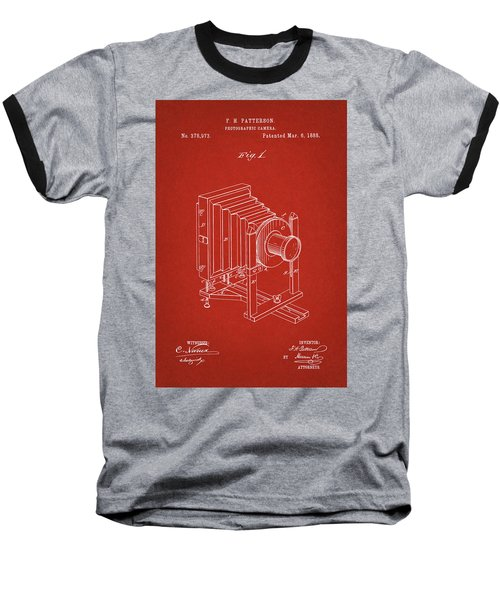 1888 Camera Us Patent Invention Drawing - Red Baseball T-Shirt