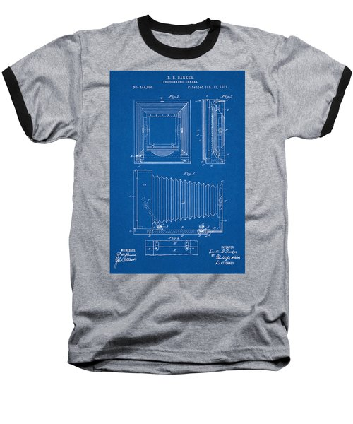 1891 Camera Us Patent Invention Drawing - Blueprint Baseball T-Shirt