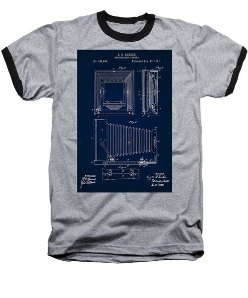 1891 Camera Us Patent Invention Drawing - Dark Blue Baseball T-Shirt