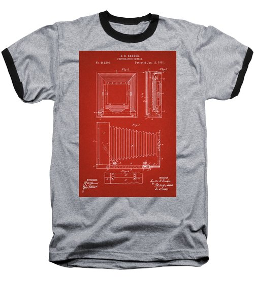 1891 Camera Us Patent Invention Drawing - Red Baseball T-Shirt
