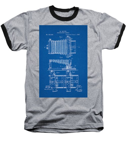 1897 Camera Us Patent Invention Drawing - Blueprint Baseball T-Shirt