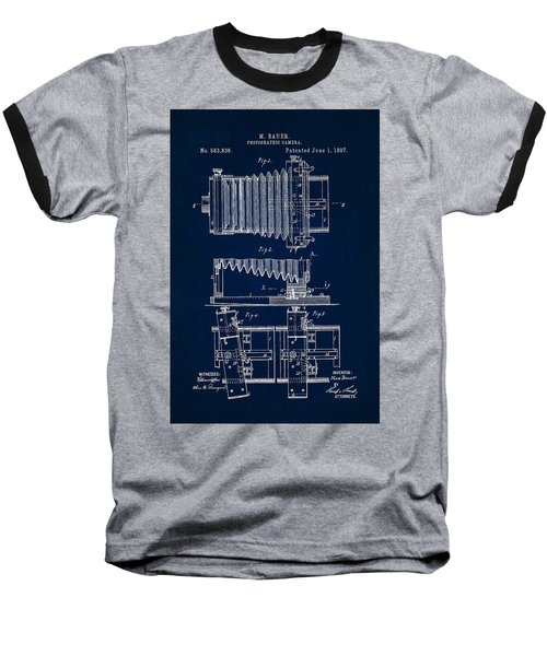 1897 Camera Us Patent Invention Drawing - Dark Blue Baseball T-Shirt