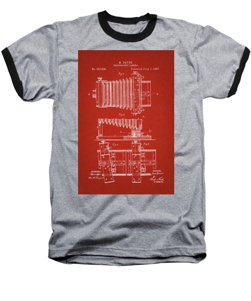 1897 Camera Us Patent Invention Drawing - Red Baseball T-Shirt