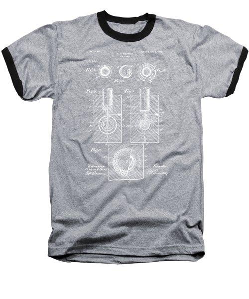 1902 Golf Ball Patent Artwork - Blueprint Baseball T-Shirt by Nikki Marie Smith