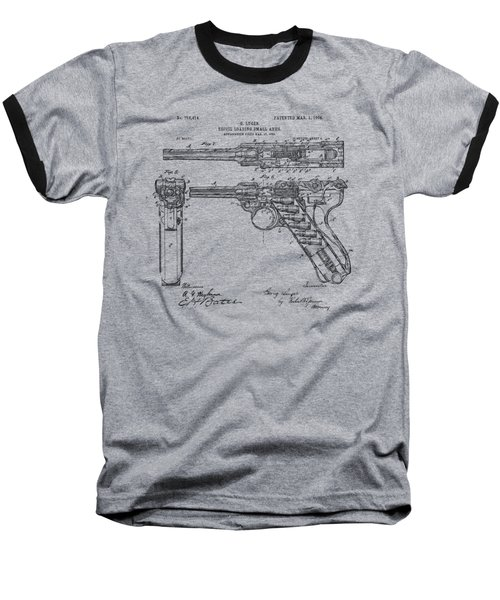Baseball T-Shirt featuring the drawing 1904 Luger Recoil Loading Small Arms Patent - Vintage by Nikki Marie Smith