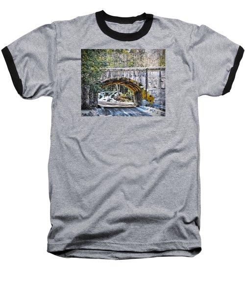 1909 Country Backroad Train Overpass Baseball T-Shirt by Rena Trepanier