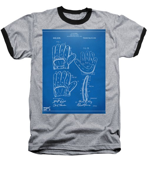 1910 Baseball Glove Patent Artwork Blueprint Baseball T-Shirt by Nikki Marie Smith