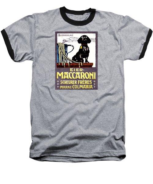 1910 Dachshund And Macaroni Poster    Baseball T-Shirt by Historic Image
