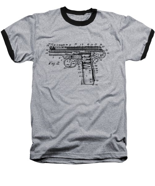 Baseball T-Shirt featuring the digital art 1911 Automatic Firearm Patent Minimal - Vintage by Nikki Marie Smith