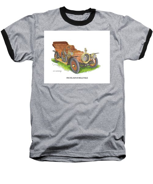 Baseball T-Shirt featuring the painting 1911 Delaunay Belleville Open Tourer by Jack Pumphrey