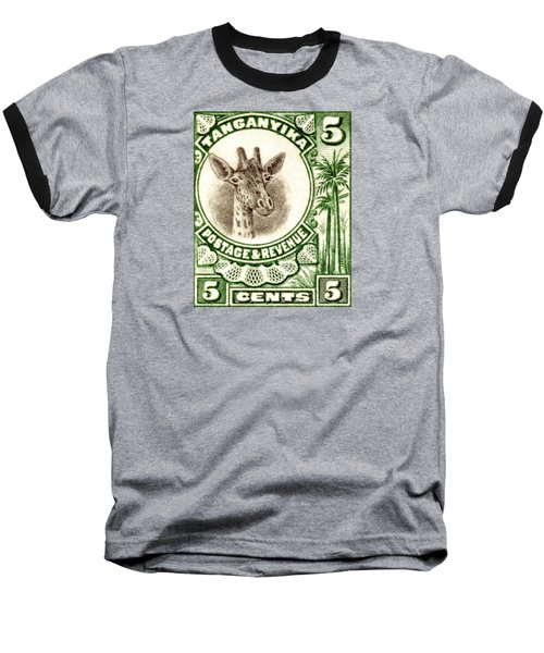 1922 East African Giraffe Stamp Baseball T-Shirt by Historic Image