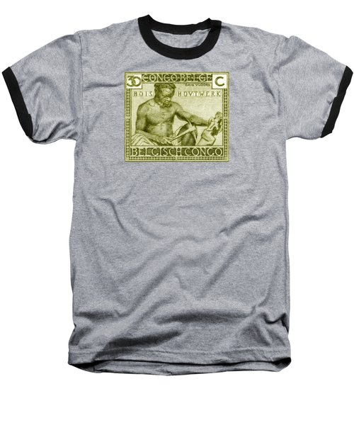 Baseball T-Shirt featuring the painting 1925 Belgian Congo Native Woodcarving by Historic Image
