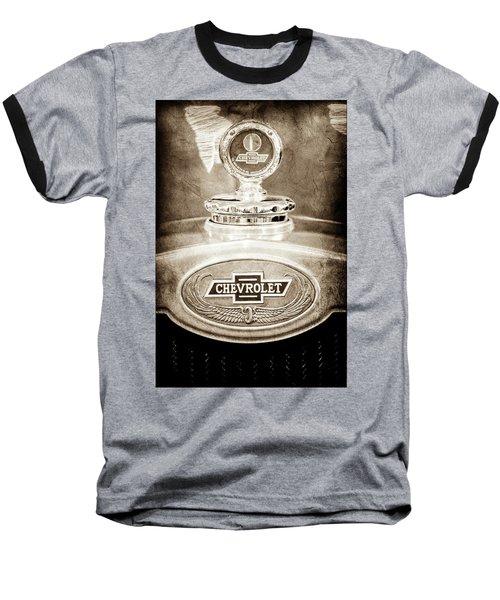 Baseball T-Shirt featuring the photograph 1928 Chevrolet 2 Door Coupe Hood Ornament Moto Meter -0789s by Jill Reger