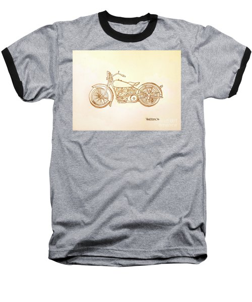 1928 Harley Davidson Motorcycle Graphite Pencil - Sepia Baseball T-Shirt by Scott D Van Osdol