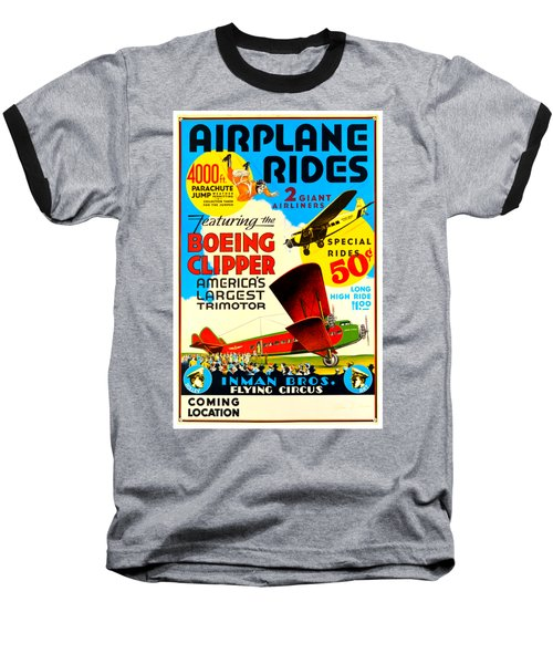 1929 Boeing Clipper Vintage Flying Circus Poster Baseball T-Shirt by Peter Gumaer Ogden Collection