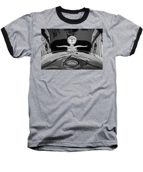 1929 Ford Model A Hood Ornament Bw Baseball T-Shirt by Rich Franco