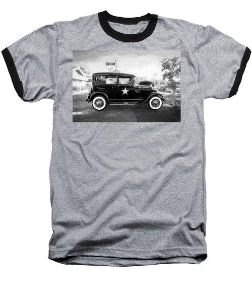 1929 Ford Model A Tudor Police Sedan Bw Baseball T-Shirt by Rich Franco
