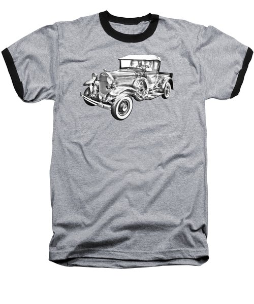 1930 Ford Model A Pickup Truck Illustration Baseball T-Shirt by Keith Webber Jr