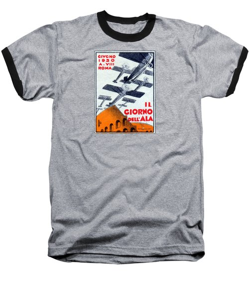 Baseball T-Shirt featuring the painting 1930 Italian Air Show by Historic Image