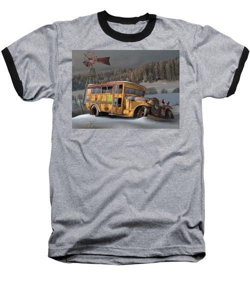 1931 Ford School Bus Baseball T-Shirt by Stuart Swartz