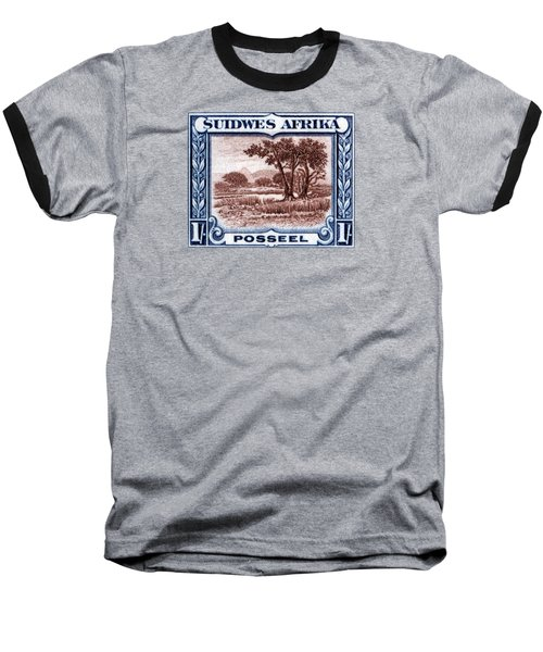 Baseball T-Shirt featuring the painting 1931 South West African Landscape Stamp by Historic Image
