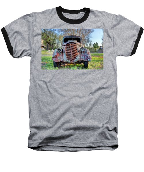 Baseball T-Shirt featuring the photograph 1936 Model 511 1/2 Ton Stakebed Farm Truck Near Charlevoix, Mic by Peter Ciro