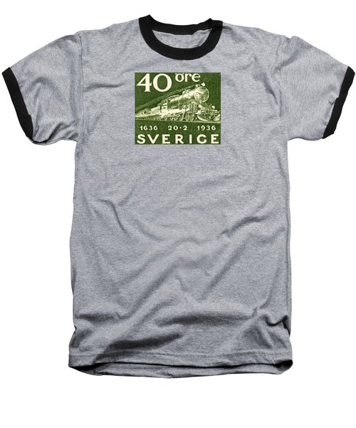 1936 Swedish Railroad Stamp Baseball T-Shirt by Historic Image
