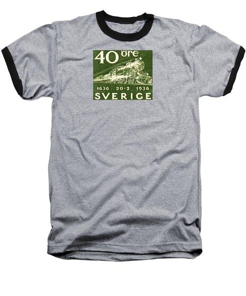 1936 Swedish Railroad Stamp Baseball T-Shirt