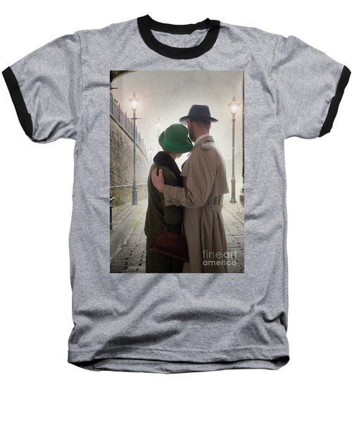 1940s Couple At Dusk  Baseball T-Shirt by Lee Avison