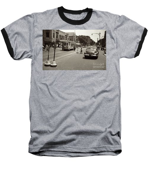 Baseball T-Shirt featuring the photograph 1940's Inwood Trolley by Cole Thompson