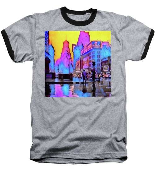 1940s Times Square Rain Baseball T-Shirt