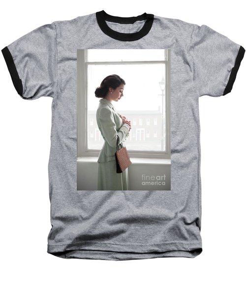 1940s Woman At The Window Baseball T-Shirt by Lee Avison
