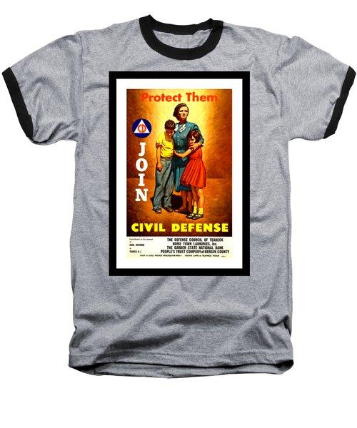 1942 Civil Defense Poster By Charles Coiner Baseball T-Shirt