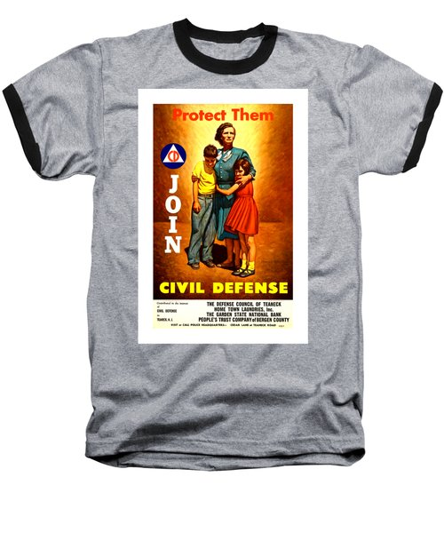 1942 Civil Defense Poster II By Charles Coiner Baseball T-Shirt by Peter Gumaer Ogden Collection
