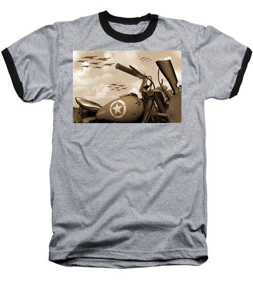 Baseball T-Shirt featuring the photograph 1942 Indian 841 - B-17 Flying Fortress - H by Mike McGlothlen