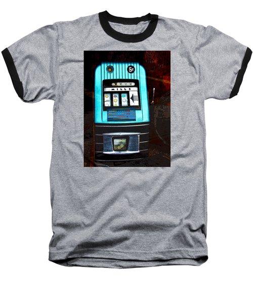 1945 Mills High Top 5 Cent Nickel Slot Machine Baseball T-Shirt by Karon Melillo DeVega