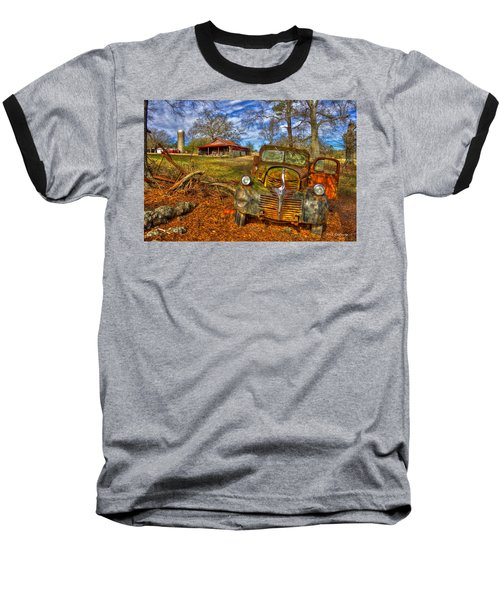 Retired 1947 Dodge Dump Truck Country Scene Art Baseball T-Shirt