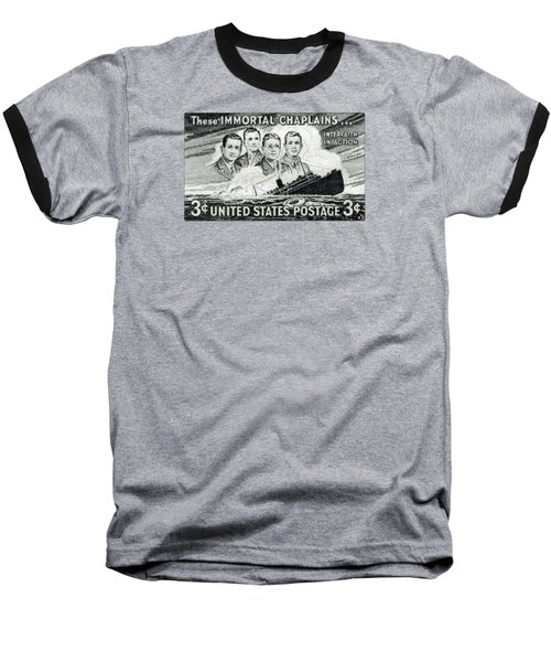 1948 Immortal Chaplains Stamp Baseball T-Shirt