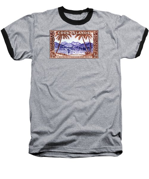 Baseball T-Shirt featuring the painting 1949 Native Fishing, Cook Islands by Historic Image