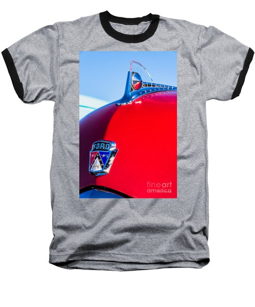 Baseball T-Shirt featuring the photograph 1950 Ford Hood Ornament by Aloha Art