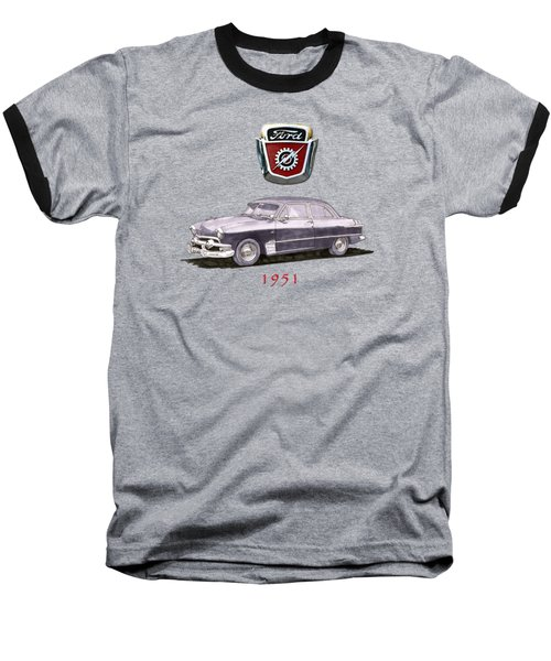 1951 Ford Two Door Sedan Tee Shirt Art Baseball T-Shirt by Jack Pumphrey