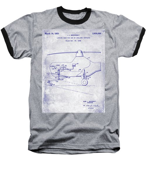 1953 Helicopter Patent Blueprint Baseball T-Shirt by Jon Neidert