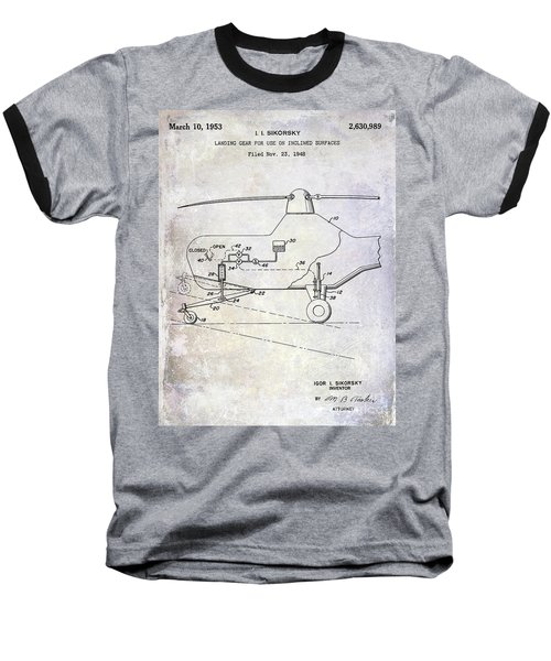 1953 Helicopter Patent Baseball T-Shirt