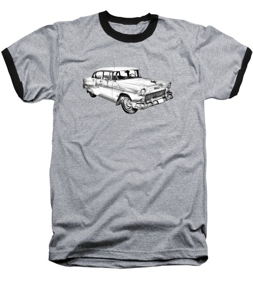 1955 Chevrolet Bel Air Illustration Baseball T-Shirt