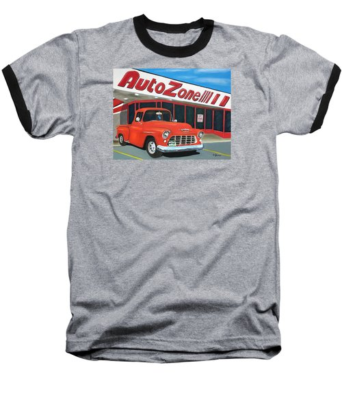 1955 Chevy - Autozone Baseball T-Shirt