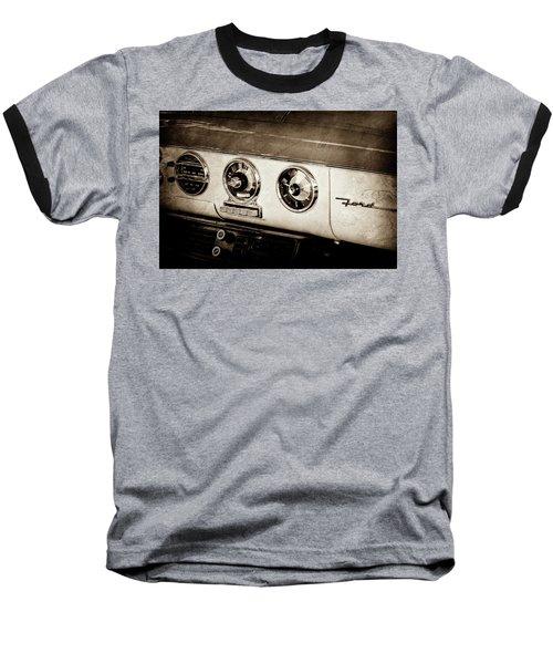 Baseball T-Shirt featuring the photograph 1955 Ford Fairlane Dashboard Emblem -0444s by Jill Reger