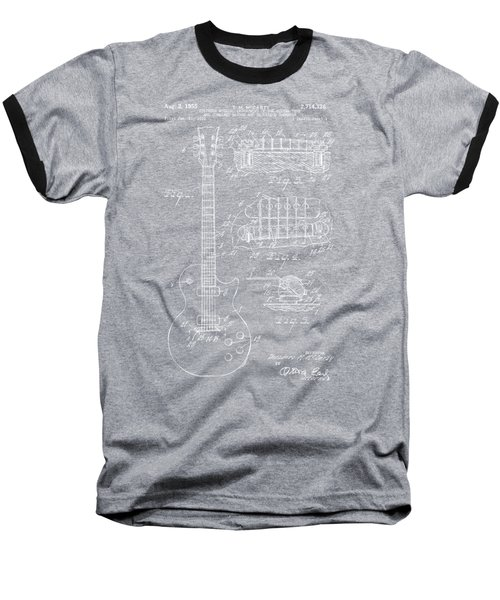 Baseball T-Shirt featuring the drawing 1955 Mccarty Gibson Les Paul Guitar Patent Artwork Blueprint by Nikki Marie Smith