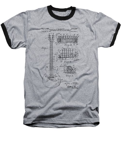 Baseball T-Shirt featuring the drawing 1955 Mccarty Gibson Les Paul Guitar Patent Artwork Vintage by Nikki Marie Smith