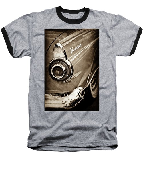 Baseball T-Shirt featuring the photograph 1956 Ford Thunderbird Taillight Emblem -0382s by Jill Reger